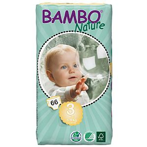 Pañales nº 3 midi para 5/9 kg. Bamboo Nature Doble pack 66 ud.